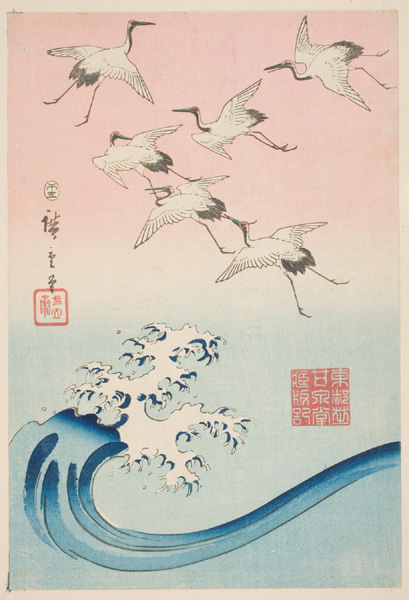 """White Cranes Flying Over Breakers"" by Ando Hiroshige"